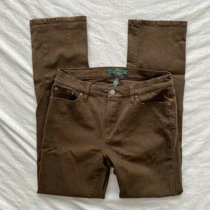LRL Classic Straight Womens Jeans Brown Size 6P